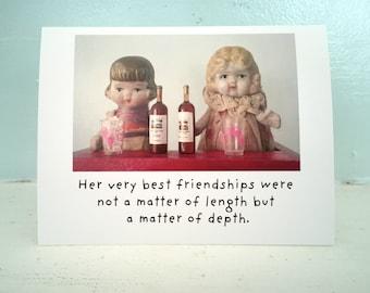 "Claudia Porcelain Doll Notecard ""Friendship"" Stationary Best Friend Card"