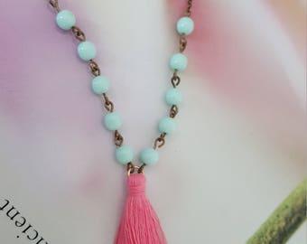 Jane necklace -Aqua coral tassel long necklace
