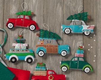 "Bucilla Holiday Shopping Spree, Set of 6 Ornaments 6"" X 4"" Felt Applique kit, 86834"