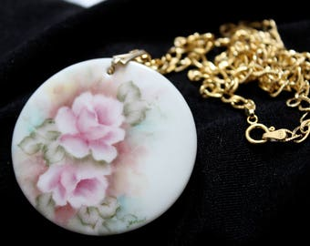 Patricia Whitchurch - Hand Painted - Porcelain - Necklace - Gold Toned - Signed