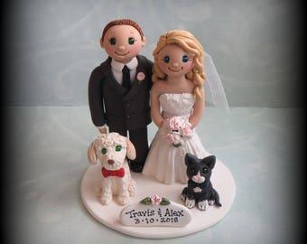 Wedding Cake Topper, Custom, Personalized, Polymer Clay, Bride and Groom, Two Pets, Wedding/Anniversary Keepsake