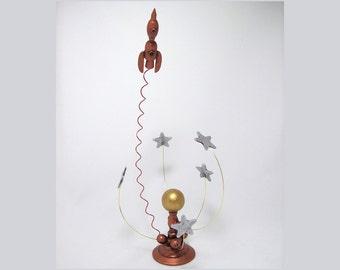 Rocket Ship Decor Silver Stars Orrery Copper Rocketship Blasting Off Near Sun Table Wood Sculpture Miniature