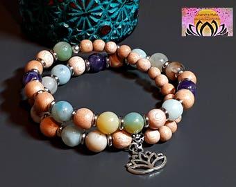 Amazonite Amethyst Rosewood Wrist Mala-Bracelet-Beaded Bracelet-Silver Lotus Flower Charm-Yoga Jewellery-Boho-Intention Bracelet-Gemstones