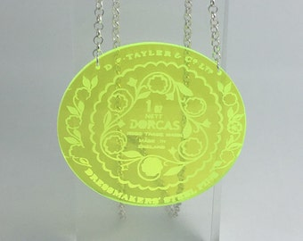 Dorcas pin tin inspired acrylic necklace pendant Small Laser cut from acrylic. by Emily M A Parkin