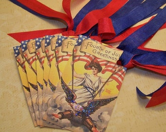 July 4th Tags Vintage Style Patriotic Tags Journaling Cards Junk Journal Supplies Set of 6 or 9
