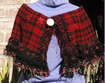 Red and Black Plaid and Knit Capelet Turnover