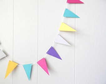 Colorful Triangle Garland / Party Bunting / Nursery Bunting / Party Decor / Photo Prop MADE TO ORDER
