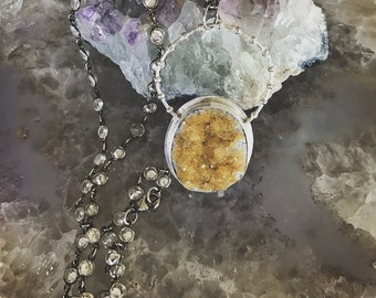 Sparkly Citrine Druzy and Zircon Sterling Silver Necklace