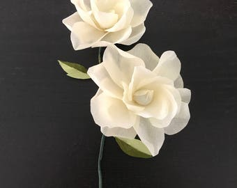 Gardenia crepe paper-Handmade_Two flowers in one stem. Special for Mother's Day