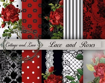 Sale Red and Black Digital Paper, Red Roses and Lace, Red and Black Scrapbooking Paper, Decoupage, Red and Black Digital Papers P 80B.