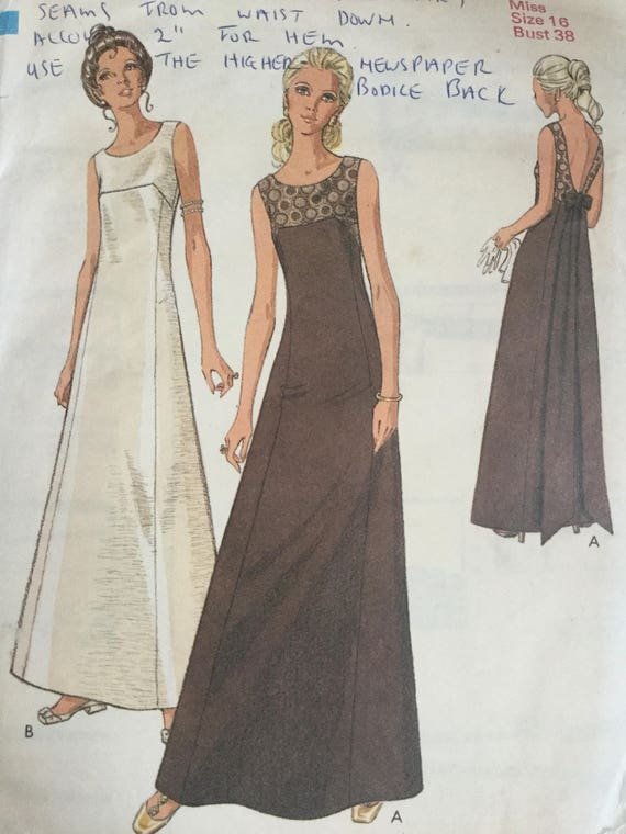Sewing Pattern - Evening Dress Pattern - lowered front neckline ...