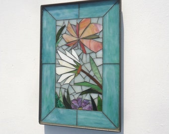 8x12 MOSAIC FLORAL VIGNETTE  - hand made - decortive glass mosaic mini panel in steel frame - indoor or outdoor wall art teal and mint