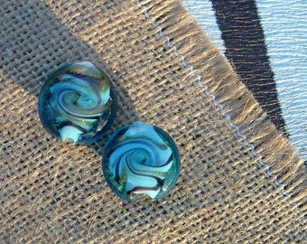 Flat or coin Turquoise 20mm MURANO style ✯