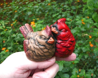 READY TO SHIP Little Cardinal Pair - Cement Red Bird Figurine/Garden Statue - Christmas Decoration or Gift