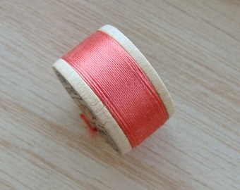 Vintage Pure Silk Buttonhole Twist Thread Spool 10 yards Size D Coral Pink Shade 4035