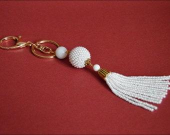 Tassel Keychain for women White keychain Beaded bag charm long keychain White keychain Tassel bag charm  Handmade Beads keychain
