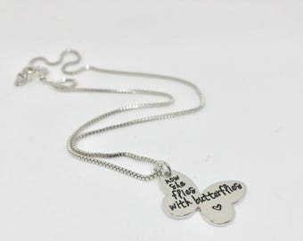 Brand New Hand Stamped Now She Flies with Butterflies - Memorial Necklace