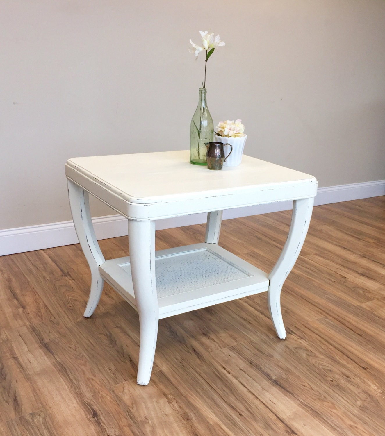 Superbe White End Table   Sofa Side Table   White Side Table For Living Room   White  Bedside Table   Used Furniture NYC   Country Furniture