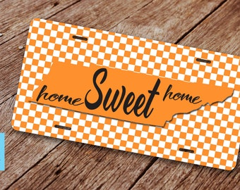 """Tennessee  """"Home Sweet Home"""" License Plate. License Plate Frame. Tennessee State Licene Plate. Tennessee License Plate. Orange and Whte."""
