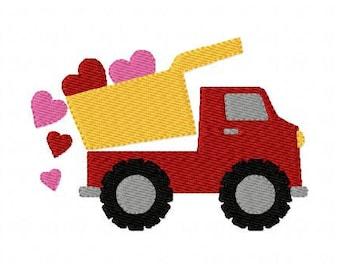 Embroidery Design, Heart Dump Truck Valentines  // Joyful Stitches