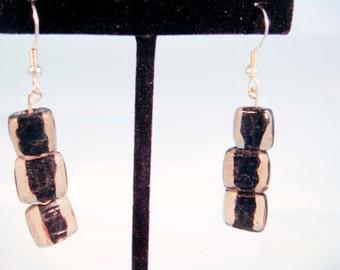 Smokey Black Glass Square Bead Beaded Earrings Gift Wedding