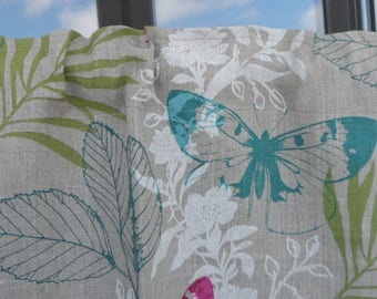Natural Linen valance. Linen curtain kitchen. Window valance. Butterfly valance. Cafe style curtain vibrant floral print