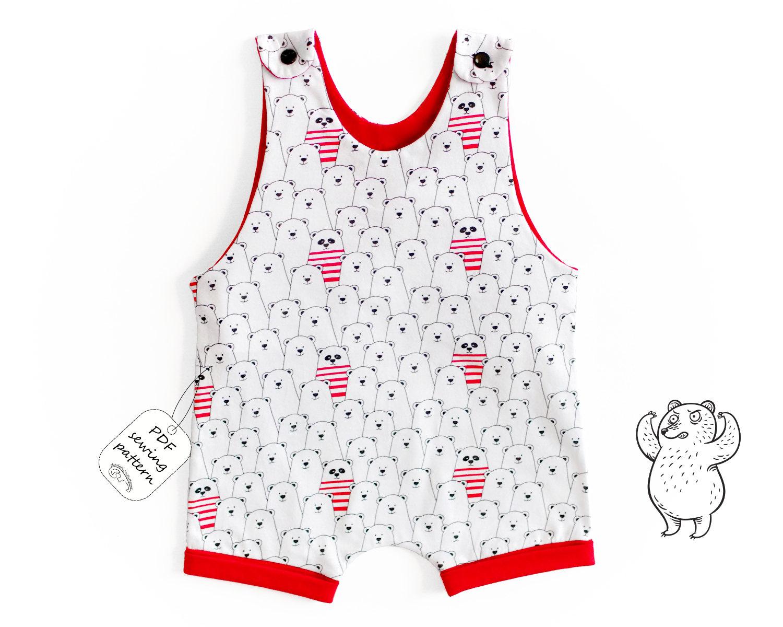 Short leg romper Sewing Pattern PDF, baby romper sewing pattern PDF ...
