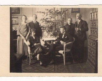 1924 Christmas tree eve day santa Vintage Real Photo Postcard Photography, Paper Ephemera, Antique, RPPC
