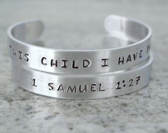 Metal Stamp Cuff Bracelet: For This Child I Have Prayed (1 Samuel)