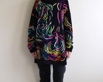 black colorful embroidery oversized cotton sweater / mock neck sweater / beaded / one fits most