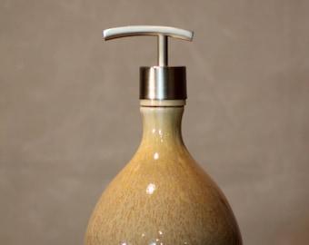 Hand Thrown Stoneware Soap Lotion Dispenser Pump White Caramel