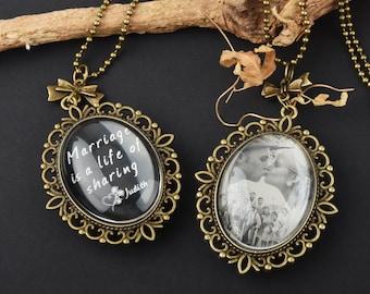 Personalized Necklace Photo Engraved, Custom Photo Necklace Jewelry,Bronze Vintage Style Custom Photo Pendant Necklace,engrave two sides