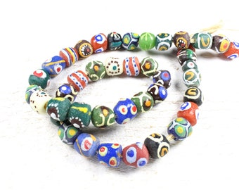 5 multicolored African handmade recycled glass beads approximately 9 to 12mm x 9-10mm
