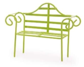 Fairy Garden Dollhouse Miniature Green Metal Bench 1:12 Scale