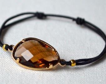 Brown crystal black cord