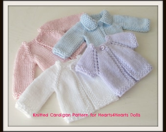 Instant Download PDF Cardigan Patterns for Hearts4Hearts Dolls or Similar
