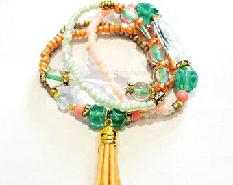 Orange, Peach, Green, Gold Boho Beaded Bracelet Set, Tassle, Stackable, Minimalist, Stretchy, Women, Custom Handmade Beaded Jewelry