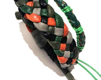 Braided leather bracelet set