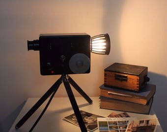 Table or floor Lamp vintage camera on tripod industrial retro bedroom interior antique cinema Paris