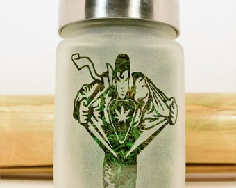 SuperMan Transformation with Pot Leaf Etched Glass Stash Jar | Weed Accessories & Stoner Gifts by Twisted420Glass