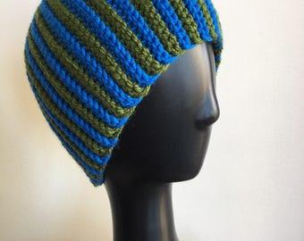 Hazelnut Beanie / Hat, Crochet Hat, Crochet Beanie, Winter Hat, Warm Hat, Warm Beanie, Winter Beanie, Adult Hat, Striped Hat