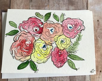 Watercolor Flower Card, Homemade Flower Card, Hand Painted Flower Card