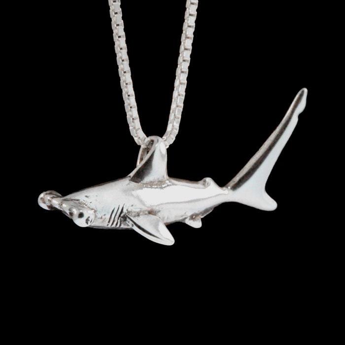 Shark necklace silver hammerhead shark charm shark pendant zoom aloadofball Images