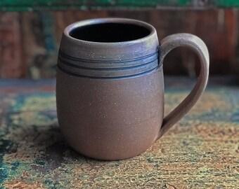 Handmade Mug, Coffee Mug with Triple Carved Line Design