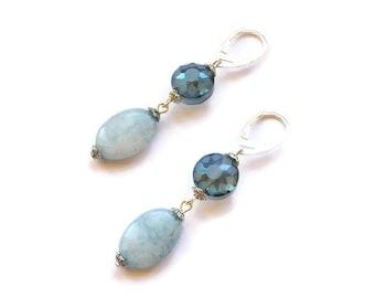 Aquamarine earrings Light blue earrings Sterling silver earrings blue Gemstone earrings Aquamarine jewelry Dangle drop earrings blue stone