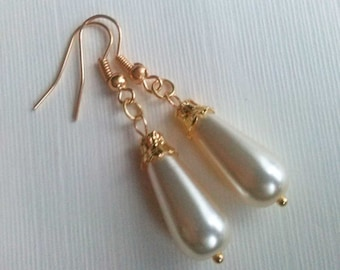 Pearl Teardrop Earrings , Pearl Earrings , Victorian Gold Earrings , Cream Glass Pearl Earrings , Cream Earrings , Handmade Jewelry