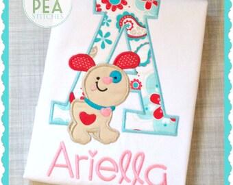 Girls Embroidered Shirt - Girls valentine's Day shirt - Personalized ValentinePuppy Tee - Baby's Valentine - Puppy Love Shirt -