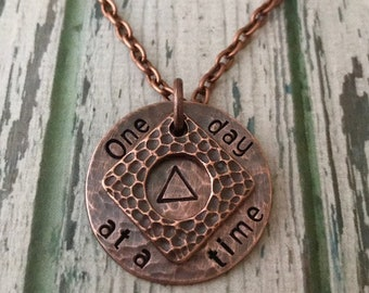 """Both NA and AA Recovery Two Piece Pendant NECKLACE """"One day at a time"""" Strength-Motivation-Support Healthy Life-Freedom from substance abuse"""