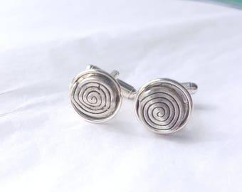 Silver-tone Spiral Charm Silver-tone Cufflinks