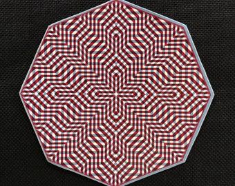 Psychedelic Optical Art Sacred Geometry Sticker 3x3 Vinyl Hexagon Art Weatherproof